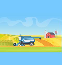 corn harvesting combine machine working vector image