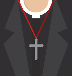 Cross Lanyard On Priest Neck vector image
