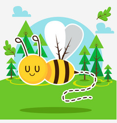 Cute bee in forest vector