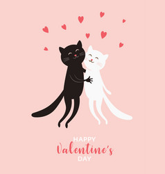 cute cats valentines day greeting card vector image
