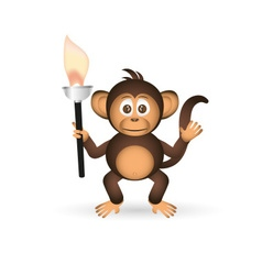 Cute chimpanzee little monkey holding flame torch vector