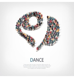 Dance people sign 3d vector