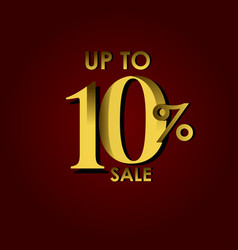 Discount sale label up to 10 red gold template vector
