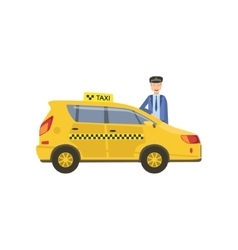 Driver In Uniform And Yellow Taxi Car vector