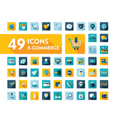 e-commerce set icons shopping and online vector image