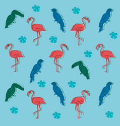 Exotic birds pattern background vector