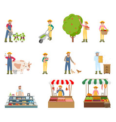 farmers working on land set vector image