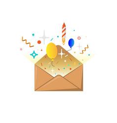 Festive message in envelope vector