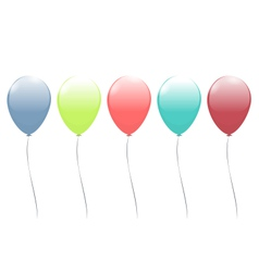 Five multicolor balloons isolated on white vector
