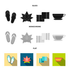 Flip-flops for the pool lotus flower with petals vector