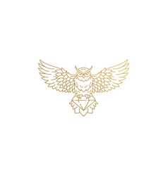 flying owl with diamond silhouette linear vector image