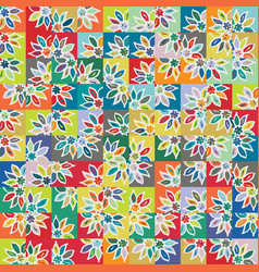 funky stylized rainbow geo floral micro pattern vector image
