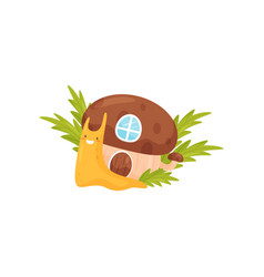 Funny snail with cozy house on its back cute vector