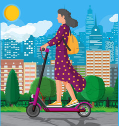 Girl with backpack rolling on electric scooter vector