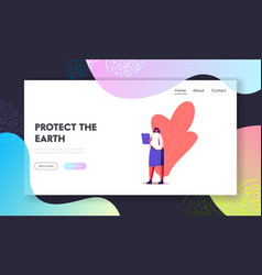 Girl with gadget landing page template business vector
