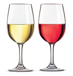 Glass of red and whine wine vector
