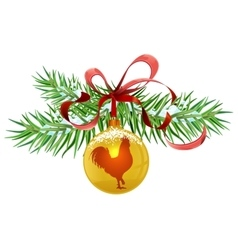 Green fir branch and golden christmas ball Red vector image