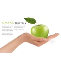 green ripe apple in a hand vector image