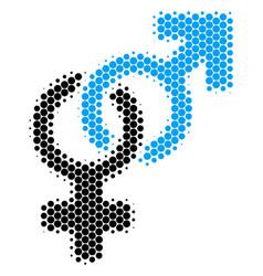 Halftone dot heterosexual symbol icon vector