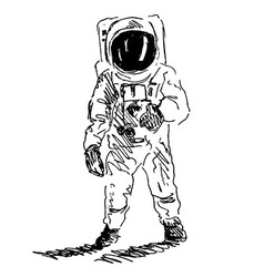 Hand sketch spaceman vector