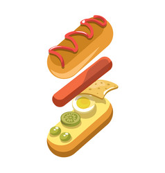 hot dog sandwich ingredients constructor fast food vector image