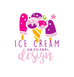 ice cream original logo design label for vector image