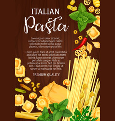 Italian pasta pastry food assortment vector