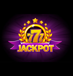 jackpot banner with purple ribbon 777 icons and vector image