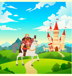 king on horseback prince rides to castle vector image