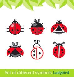 ladybird ladybug set symbols vector image