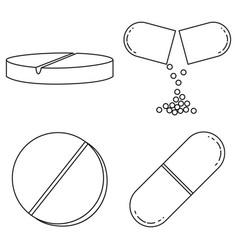line art black and white medical drugs set vector image