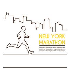 Line silhouettes female runner running vector