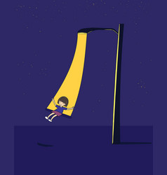 lovely girl she is swinging at night vector image