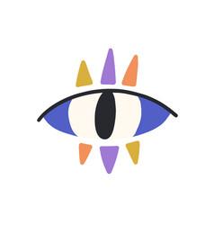 Magic evil eye with colorful eyelashes mystical vector