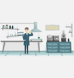 male chemist with a flask vector image