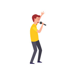 male singing musician giving performance isolated vector image