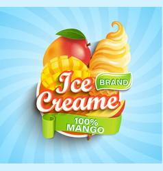 mango ice cream logo label or emblem vector image