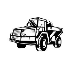 Mining dump truck retro woodcut black and white vector