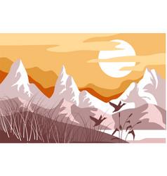 mountain landscape wild birds america steppe vector image