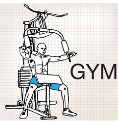 muscular man exercising on a lat machine in gym vector image