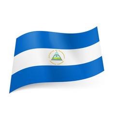 national flag of nicaragua white horizontal vector image