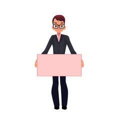 office worker with empty pink banner vector image