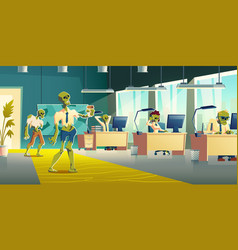 office zombies at work cartoon concept vector image