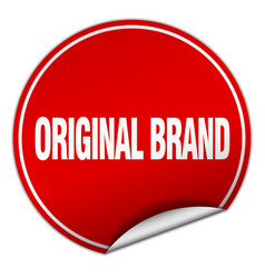 Original brand round red sticker isolated on white vector