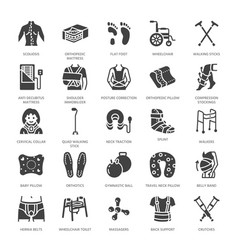 Orthopedics trauma rehabilitation glyph icons vector