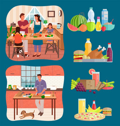 People cooking in kitchen family and lone man vector