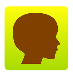 people head sign brown icon at green vector image