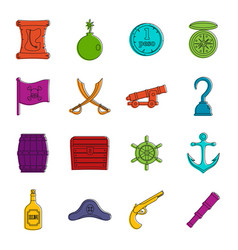 Pirate icons doodle set vector