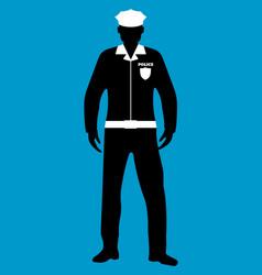 Policeman flat icon service 911silhouette vector
