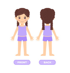 Pretty little girl in clothes is stand front back vector
